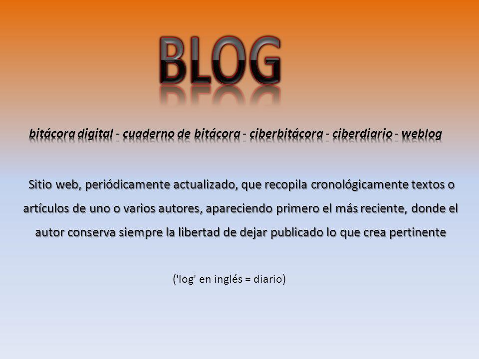 BLOG bitácora digital - cuaderno de bitácora - ciberbitácora - ciberdiario - weblog.