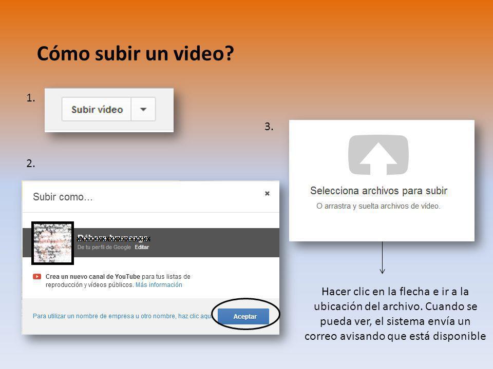 Cómo subir un video 1. 3. 2.