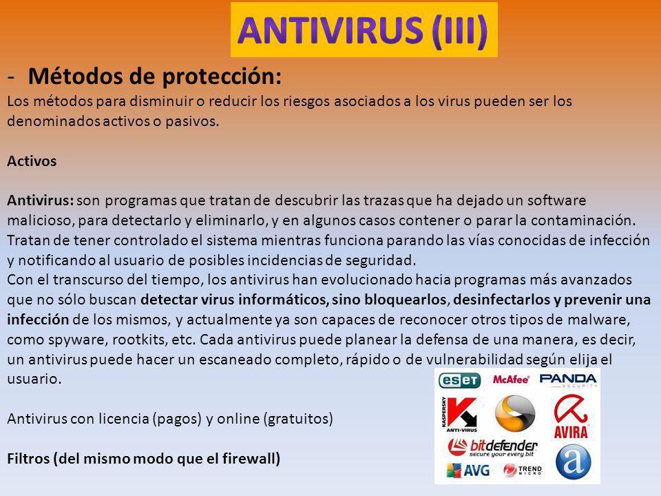 ANTIVIRUS (III) Métodos de protección:
