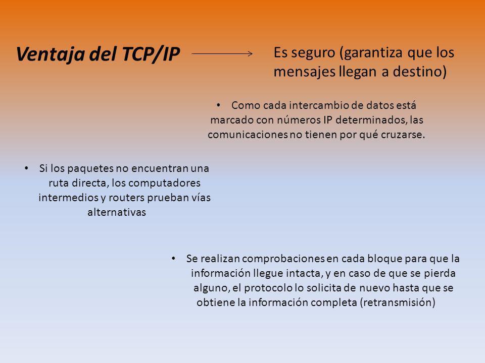 Ventaja del TCP/IP Es seguro (garantiza que los