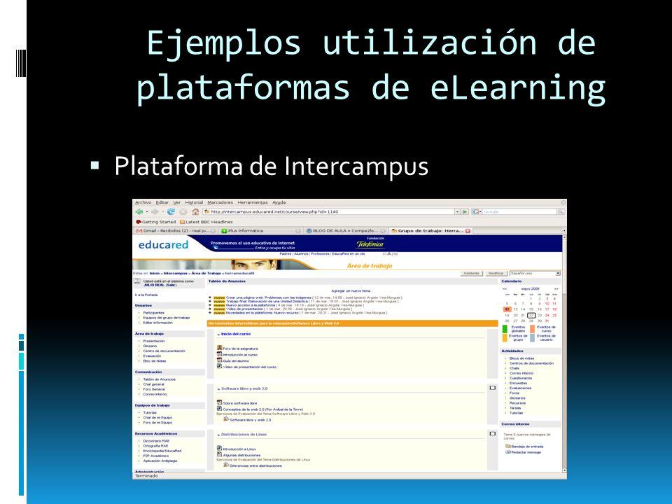 Ejemplos utilización de plataformas de eLearning