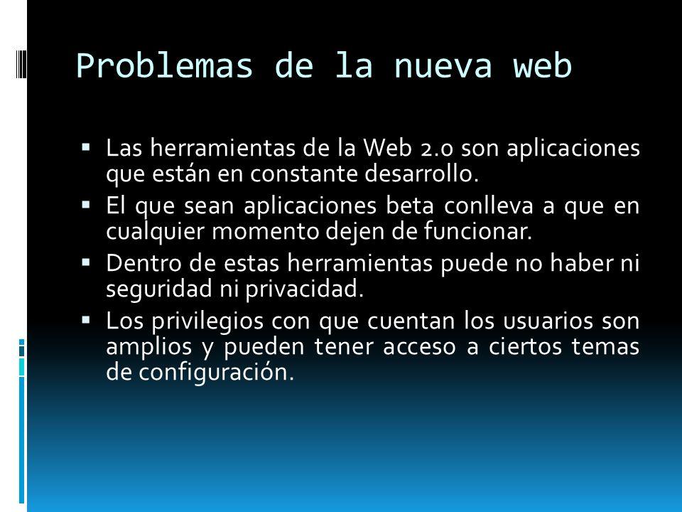 Problemas de la nueva web