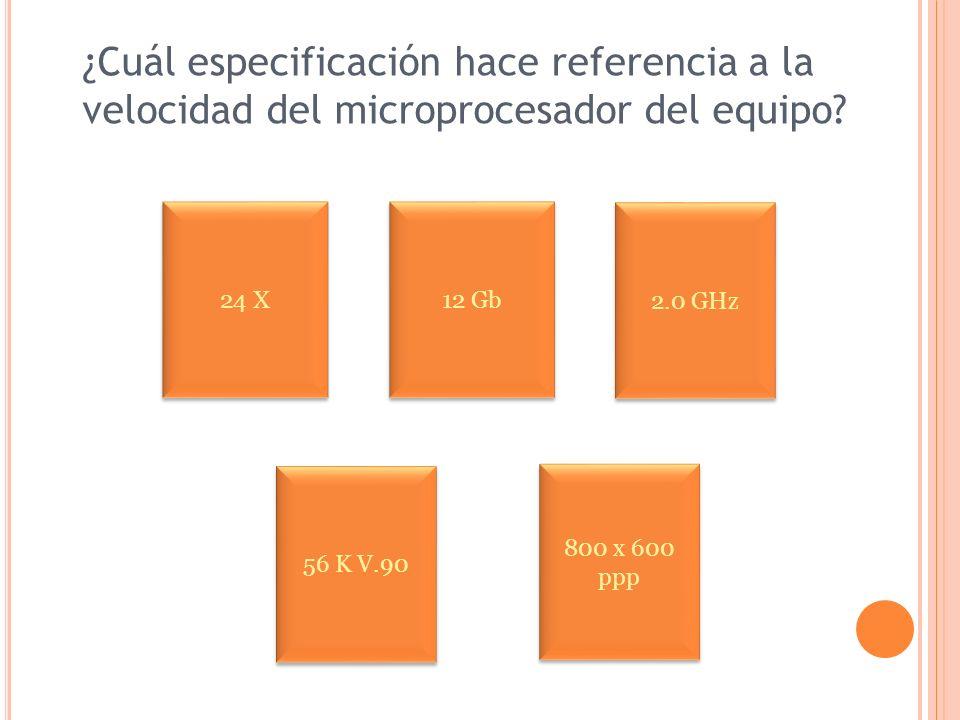 ¿Cuál especificación hace referencia a la velocidad del microprocesador del equipo