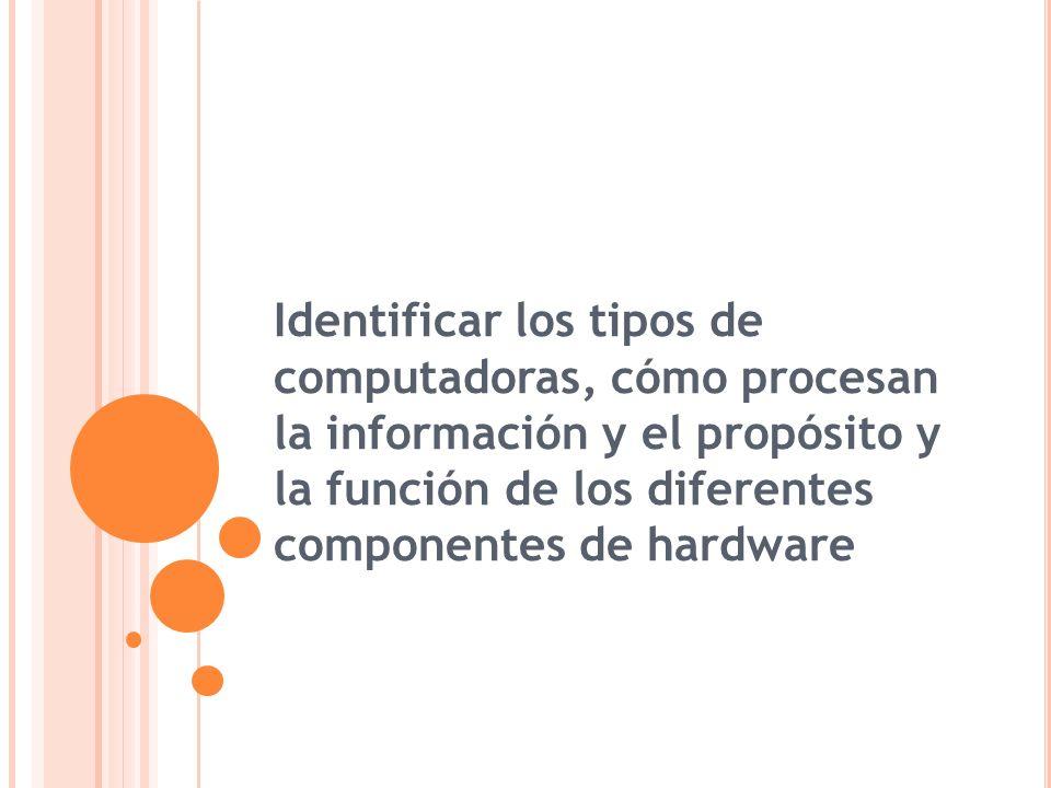 Identificar los tipos de computadoras, cómo procesan la información y el propósito y la función de los diferentes componentes de hardware