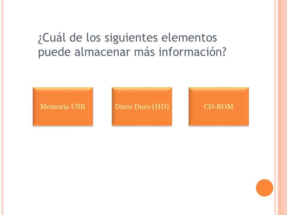 ¿Cuál de los siguientes elementos puede almacenar más información