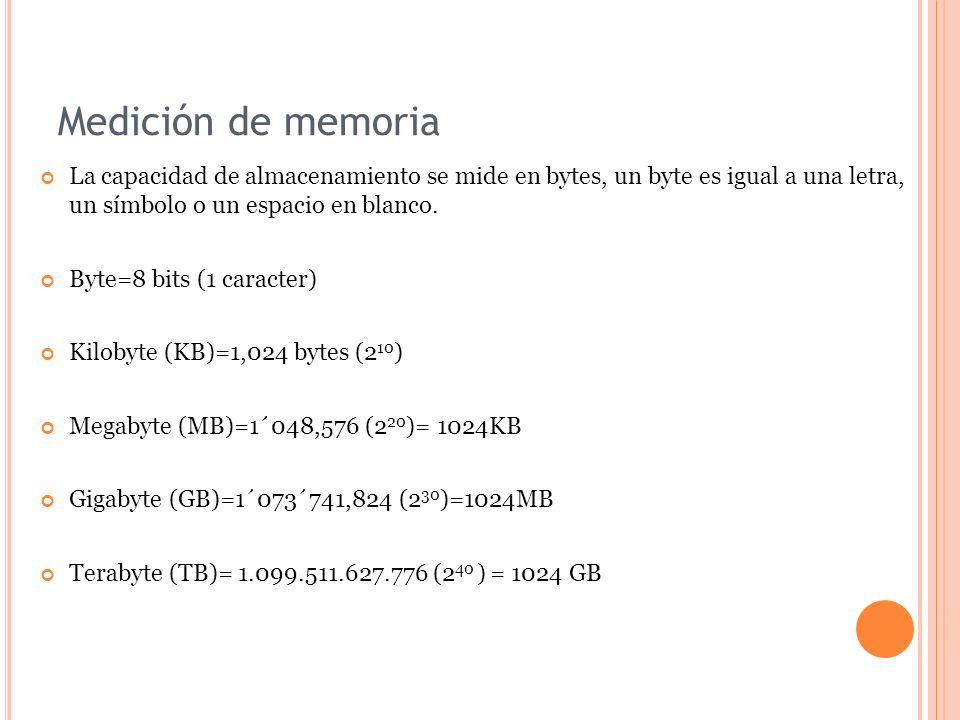 Medición de memoria La capacidad de almacenamiento se mide en bytes, un byte es igual a una letra, un símbolo o un espacio en blanco.