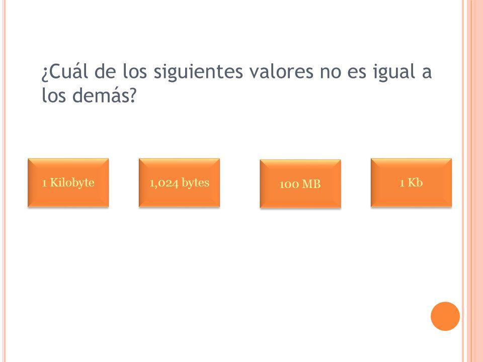 ¿Cuál de los siguientes valores no es igual a los demás