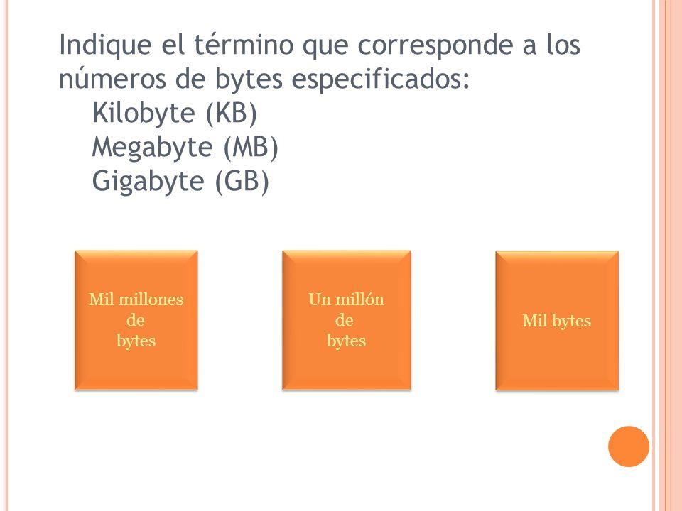 Indique el término que corresponde a los números de bytes especificados: