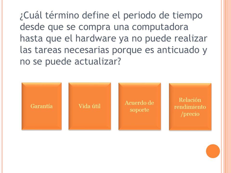 ¿Cuál término define el periodo de tiempo desde que se compra una computadora hasta que el hardware ya no puede realizar las tareas necesarias porque es anticuado y no se puede actualizar