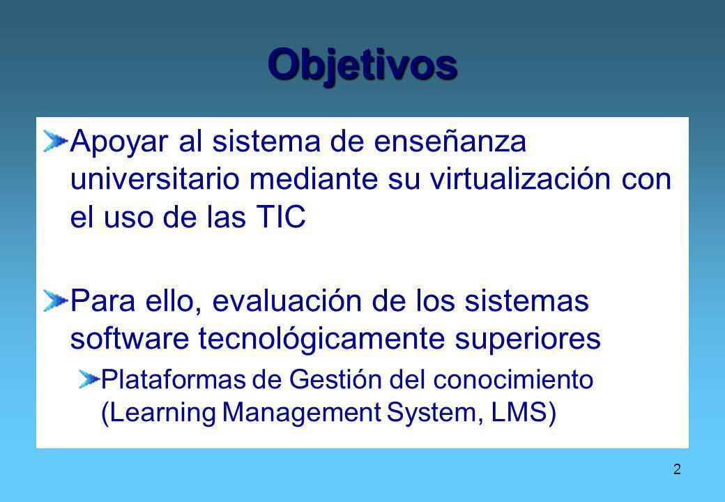 Objetivos Apoyar al sistema de enseñanza universitario mediante su virtualización con el uso de las TIC.