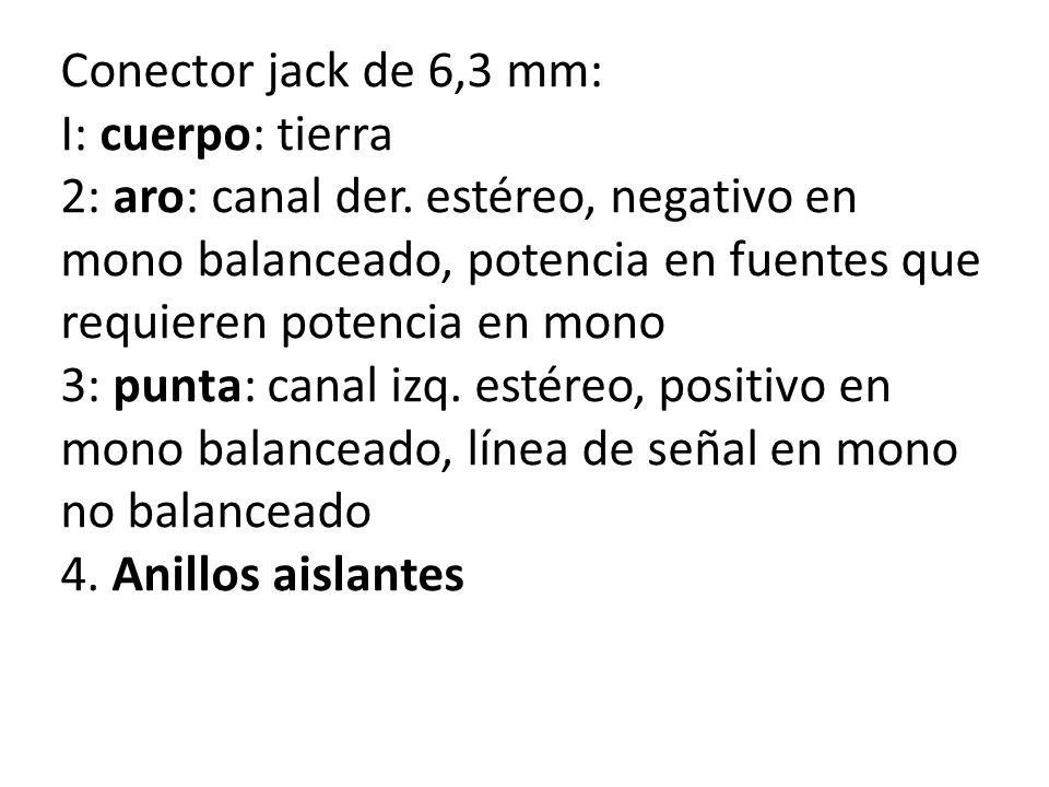 Conector jack de 6,3 mm: I: cuerpo: tierra.