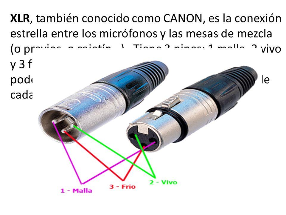 XLR, también conocido como CANON, es la conexión estrella entre los micrófonos y las mesas de mezcla (o previos, o cajetín…). Tiene 3 pines; 1 malla, 2 vivo y 3 frío (return, hot, cold) Estos números nos los podemos encontrar dentro del conector al lado de cada patilla para identificarlo.
