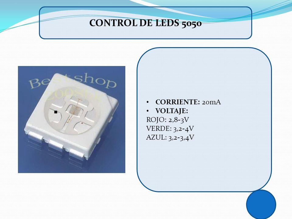 CONTROL DE LEDS 5050 CORRIENTE: 20mA VOLTAJE: ROJO: 2,8-3V