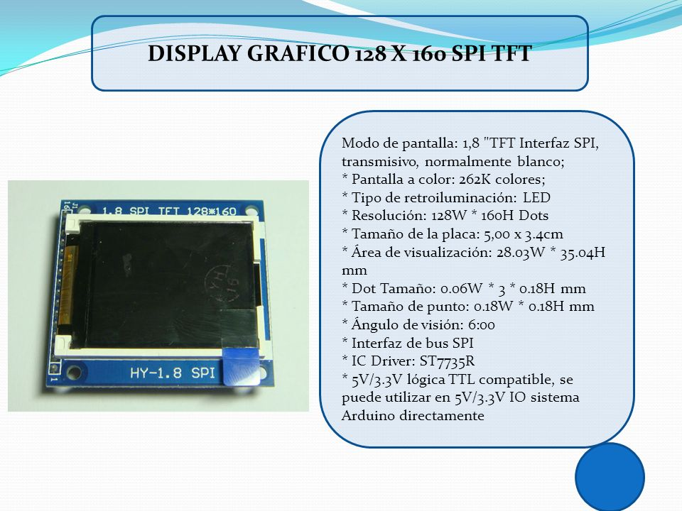 DISPLAY GRAFICO 128 X 160 SPI TFT