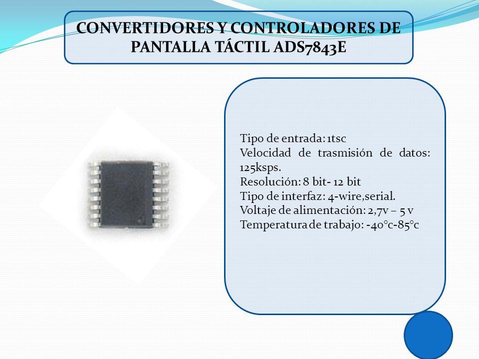 Convertidores y controladores de pantalla táctil ADS7843E