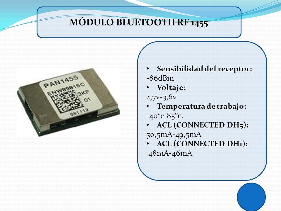 MÓDULO BLUETOOTH RF 1455 Sensibilidad del receptor: -86dBm Voltaje:
