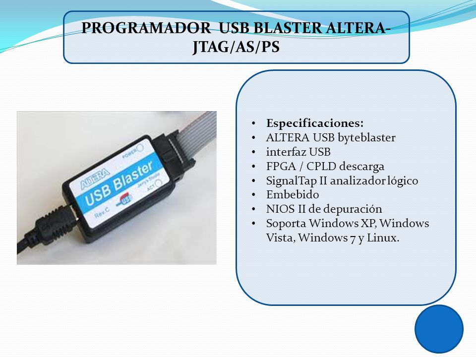 PROGRAMADOR USB BLASTER ALTERA-JTAG/AS/PS