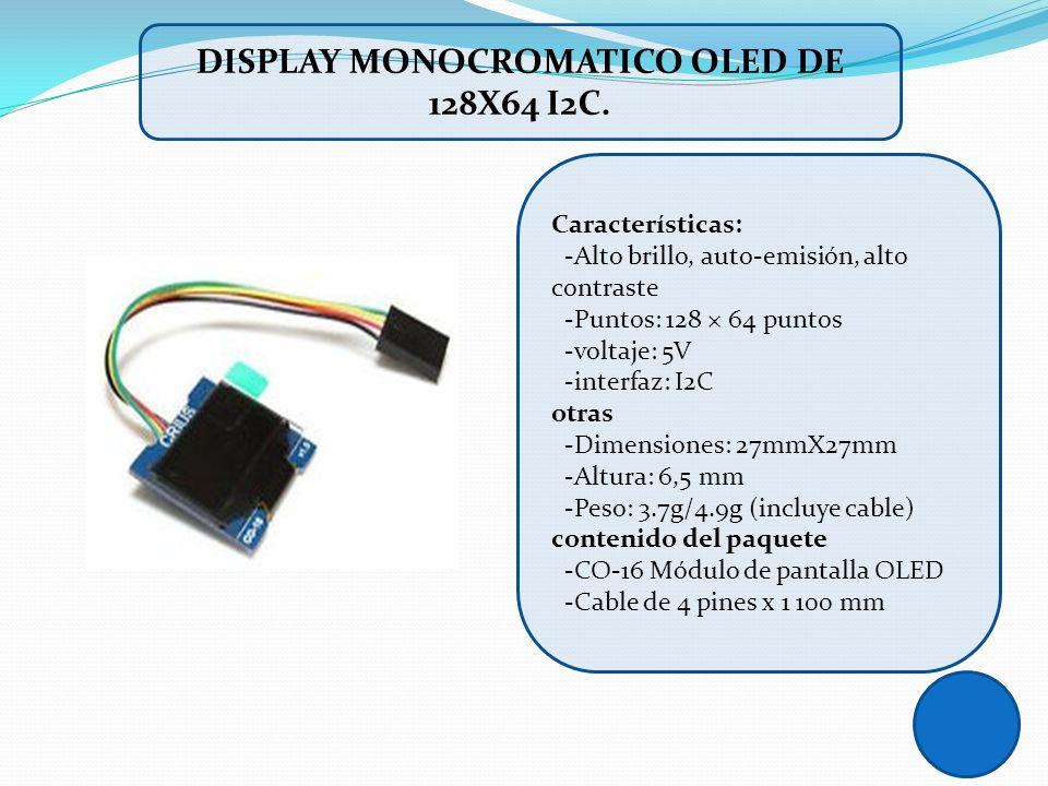 DISPLAY MONOCROMATICO OLED DE 128X64 I2C.