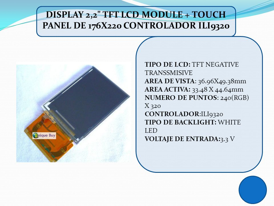DISPLAY 2,2 TFT LCD MODULE + TOUCH PANEL DE 176X220 CONTROLADOR ILI9320