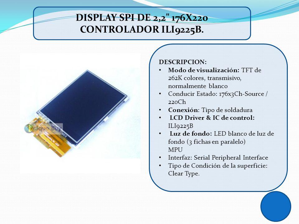 DISPLAY SPI DE 2,2 176X220 CONTROLADOR ILI9225B.