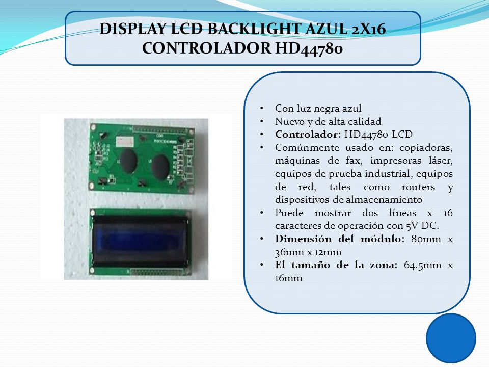 DISPLAY LCD BACKLIGHT AZUL 2X16 CONTROLADOR HD44780