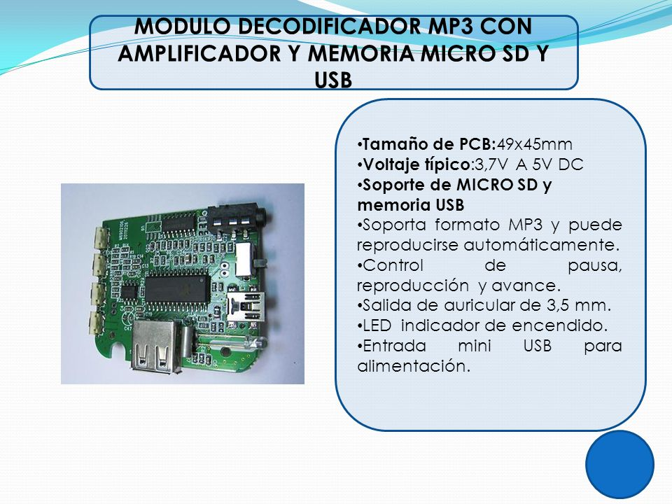 MODULO DECODIFICADOR MP3 CON AMPLIFICADOR Y MEMORIA MICRO SD Y USB
