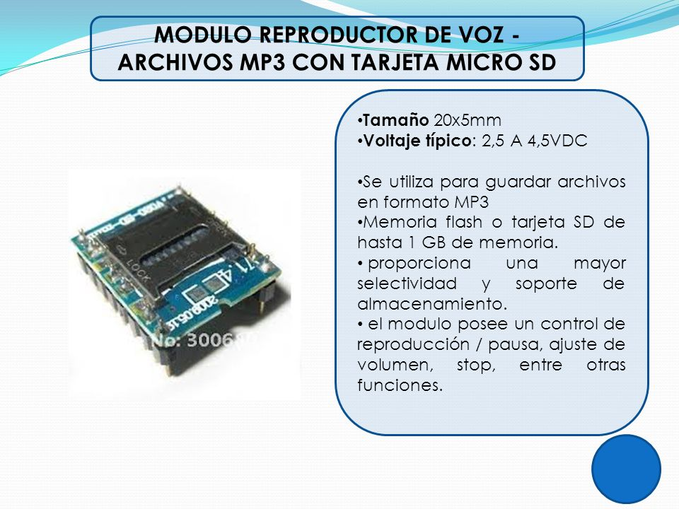 MODULO REPRODUCTOR DE VOZ -ARCHIVOS MP3 CON TARJETA MICRO SD
