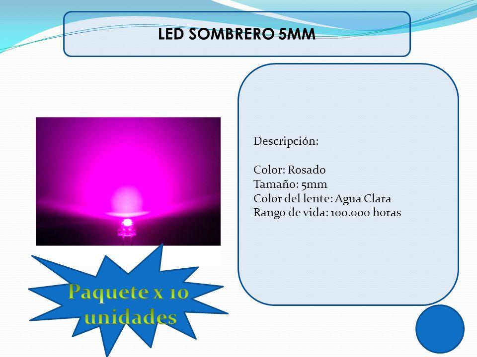 Paquete x 10 unidades LED SOMBRERO 5MM Descripción: Color: Rosado