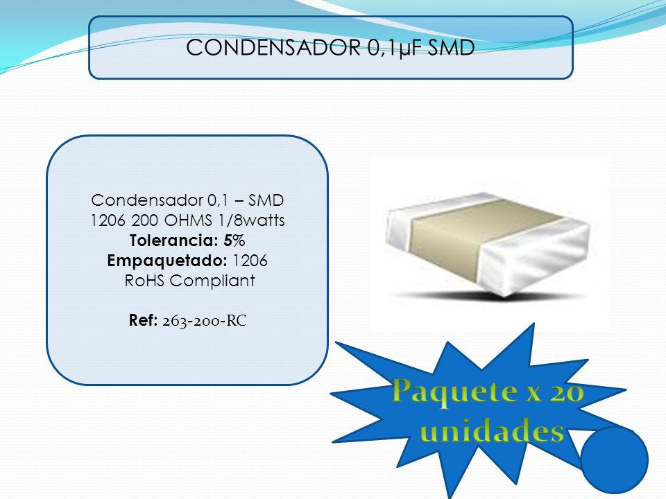 Paquete x 20 unidades CONDENSADOR 0,1µF SMD Condensador 0,1 – SMD