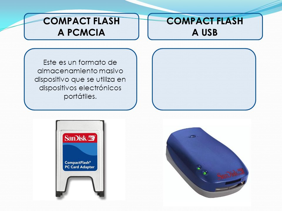 COMPACT FLASH A PCMCIA COMPACT FLASH A USB