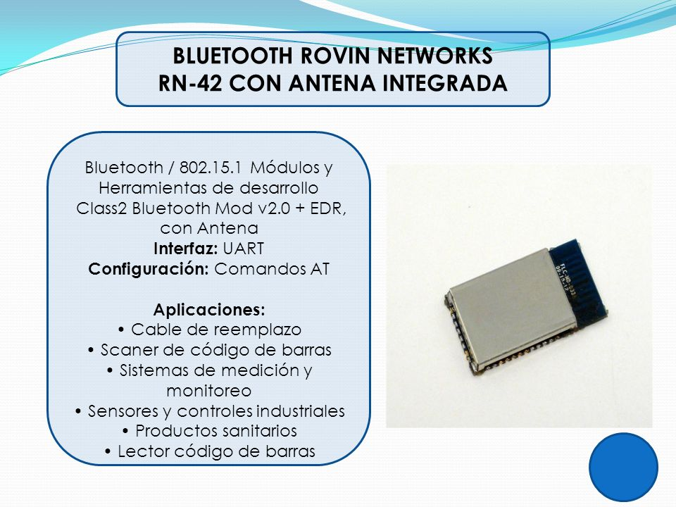 BLUETOOTH ROVIN NETWORKS RN-42 CON ANTENA INTEGRADA