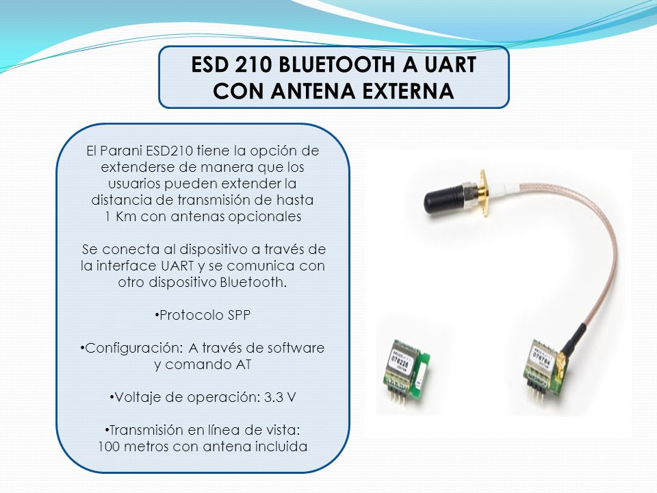 ESD 210 BLUETOOTH A UART CON ANTENA EXTERNA