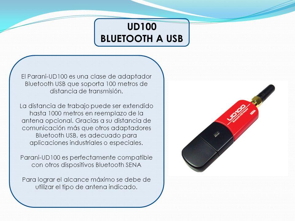 UD100 BLUETOOTH A USB. El Parani-UD100 es una clase de adaptador Bluetooth USB que soporta 100 metros de distancia de transmisión.