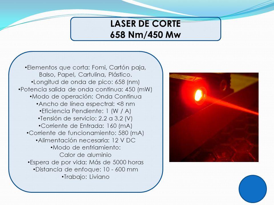 LASER DE CORTE 658 Nm/450 Mw. Elementos que corta: Fomi, Cartón paja, Balso, Papel, Cartulina, Plástico.