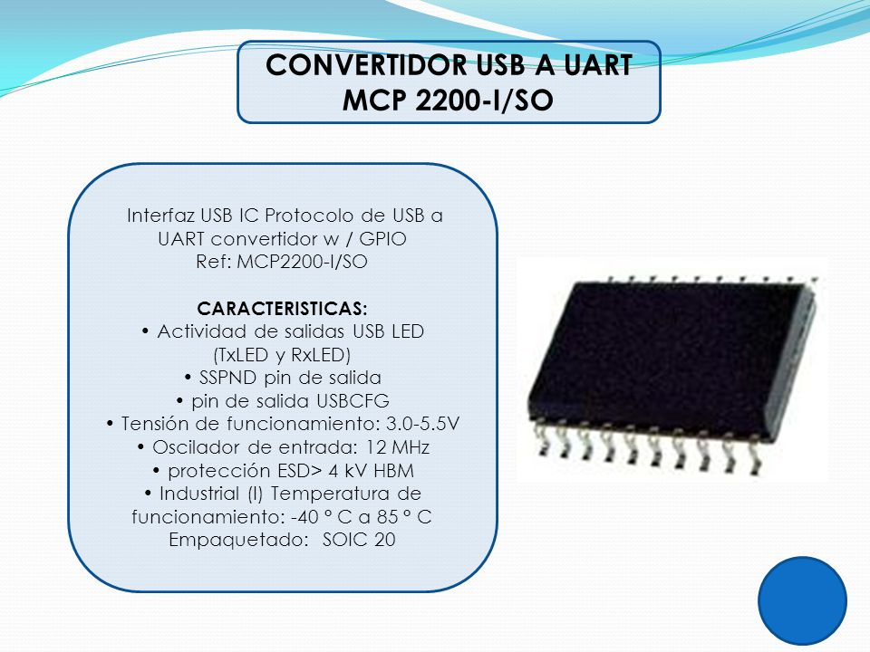 CONVERTIDOR USB A UART MCP 2200-I/SO