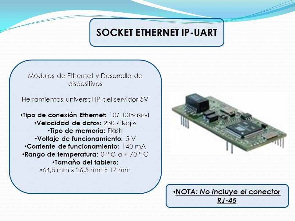 SOCKET ETHERNET IP-UART NOTA: No incluye el conector