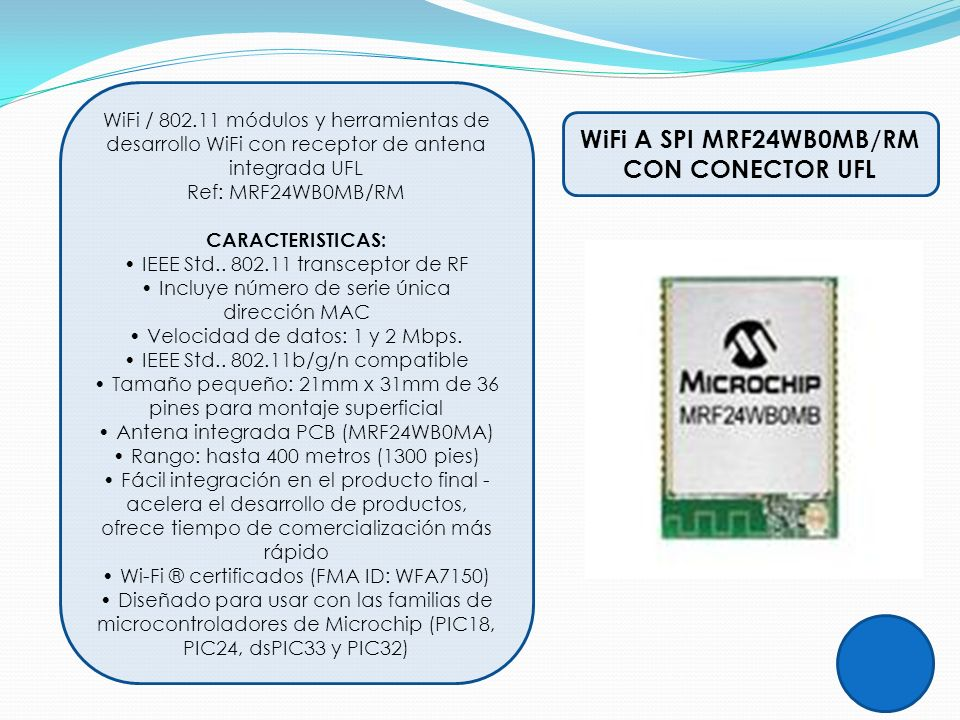 WiFi A SPI MRF24WB0MB/RM CON CONECTOR UFL