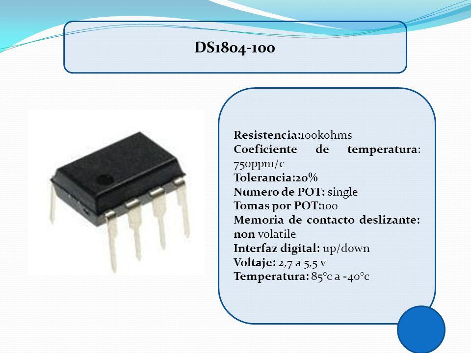 DS1804-100 Resistencia:100kohms Coeficiente de temperatura: 750ppm/c