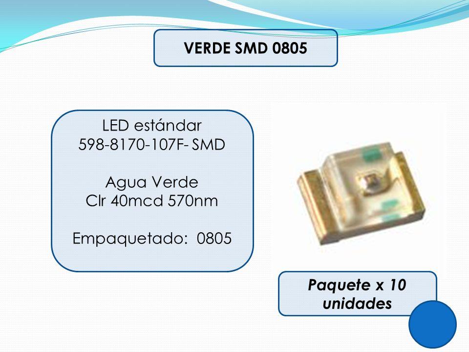 VERDE SMD 0805 LED estándar. 598-8170-107F- SMD. Agua Verde. Clr 40mcd 570nm. Empaquetado: 0805.