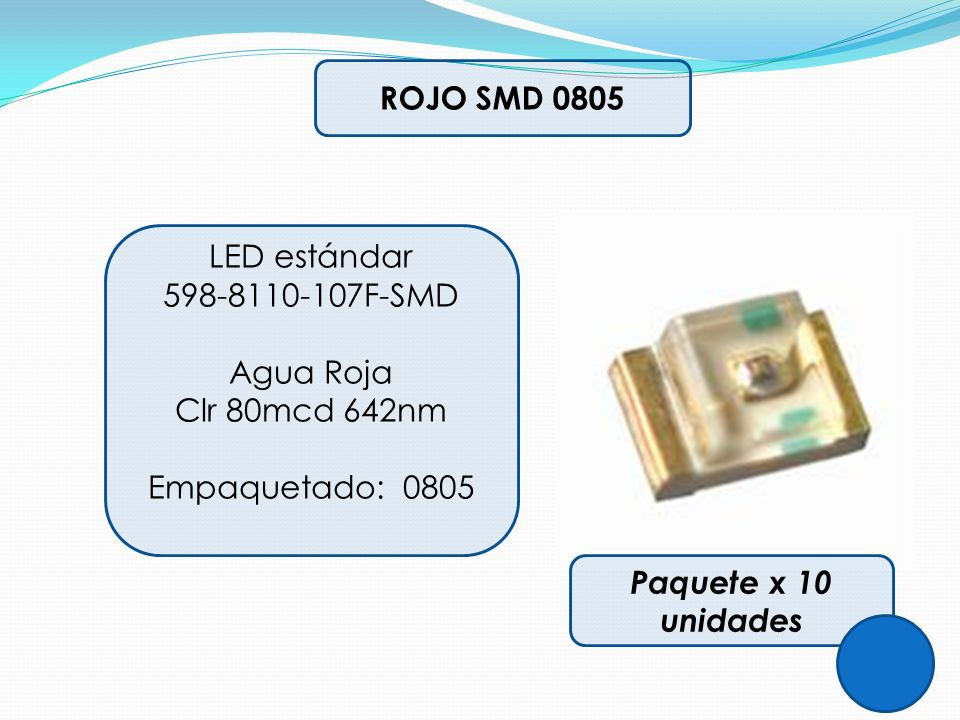 ROJO SMD 0805 LED estándar. 598-8110-107F-SMD. Agua Roja.
