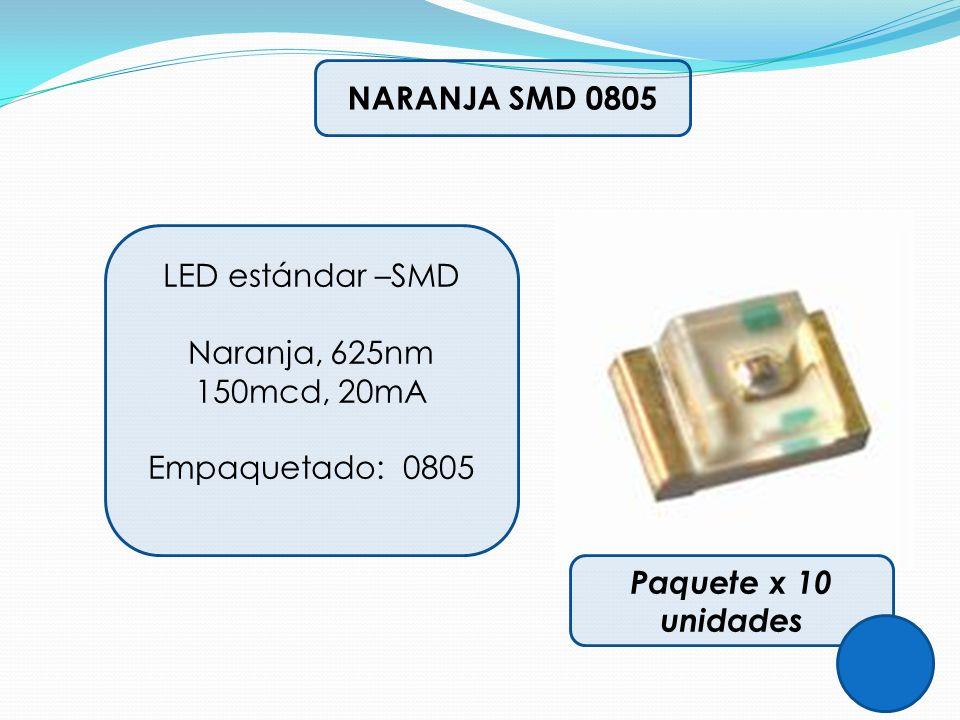 NARANJA SMD 0805 LED estándar –SMD. Naranja, 625nm 150mcd, 20mA.