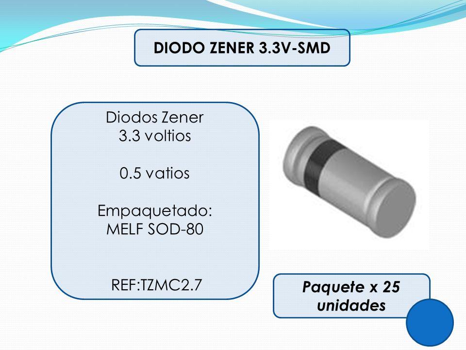 DIODO ZENER 3.3V-SMD Diodos Zener. 3.3 voltios. 0.5 vatios. Empaquetado: MELF SOD-80. REF:TZMC2.7.