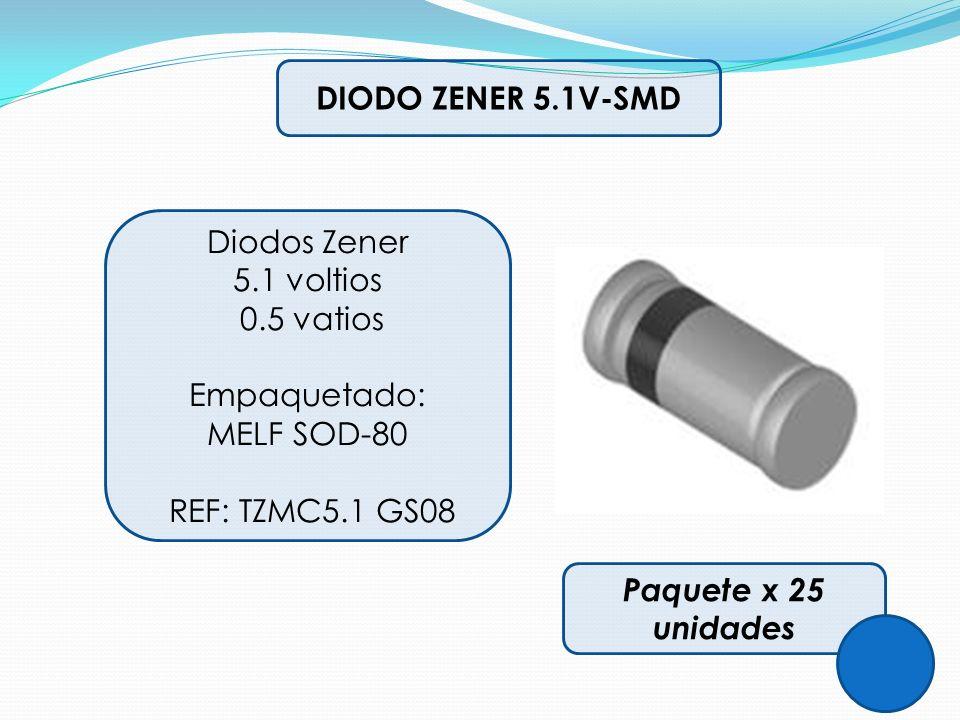 DIODO ZENER 5.1V-SMD Diodos Zener. 5.1 voltios. 0.5 vatios. Empaquetado: MELF SOD-80. REF: TZMC5.1 GS08.