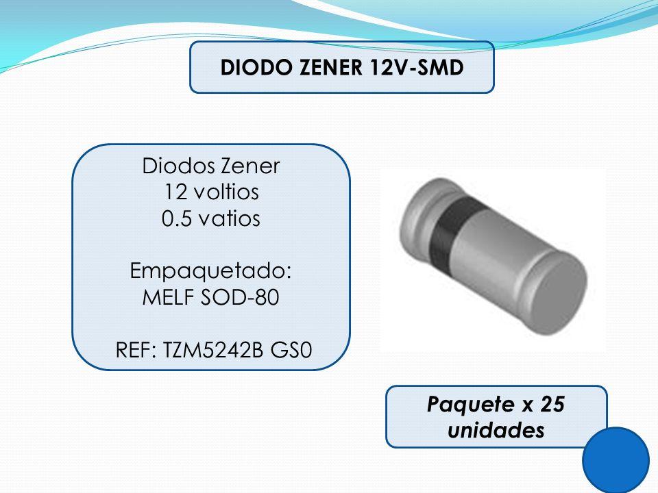 DIODO ZENER 12V-SMD Diodos Zener. 12 voltios. 0.5 vatios. Empaquetado: MELF SOD-80. REF: TZM5242B GS0.