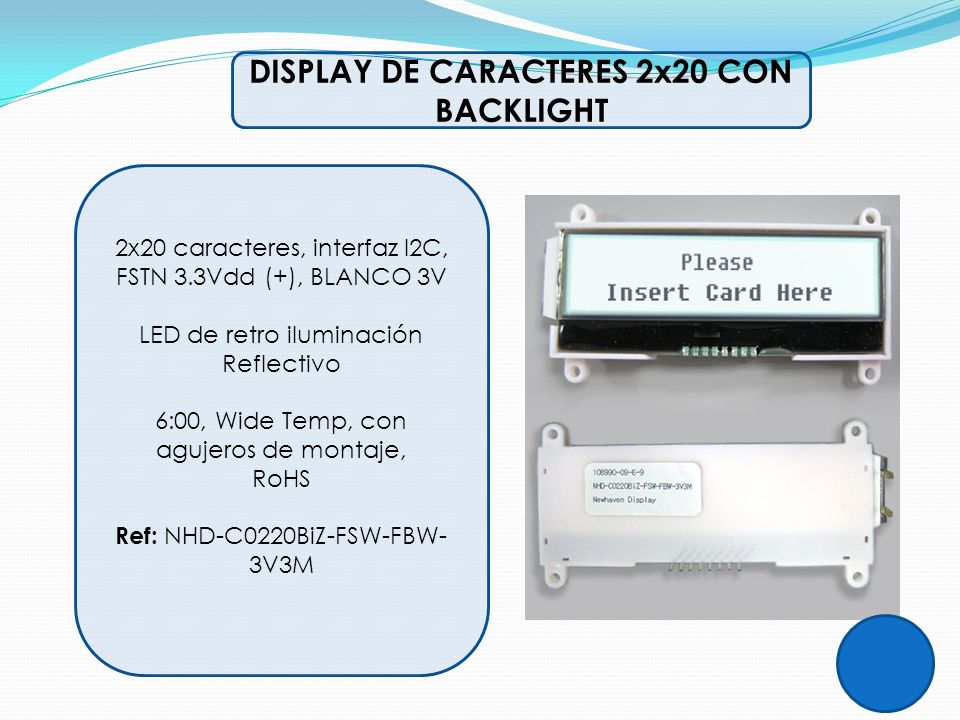 DISPLAY DE CARACTERES 2x20 CON BACKLIGHT