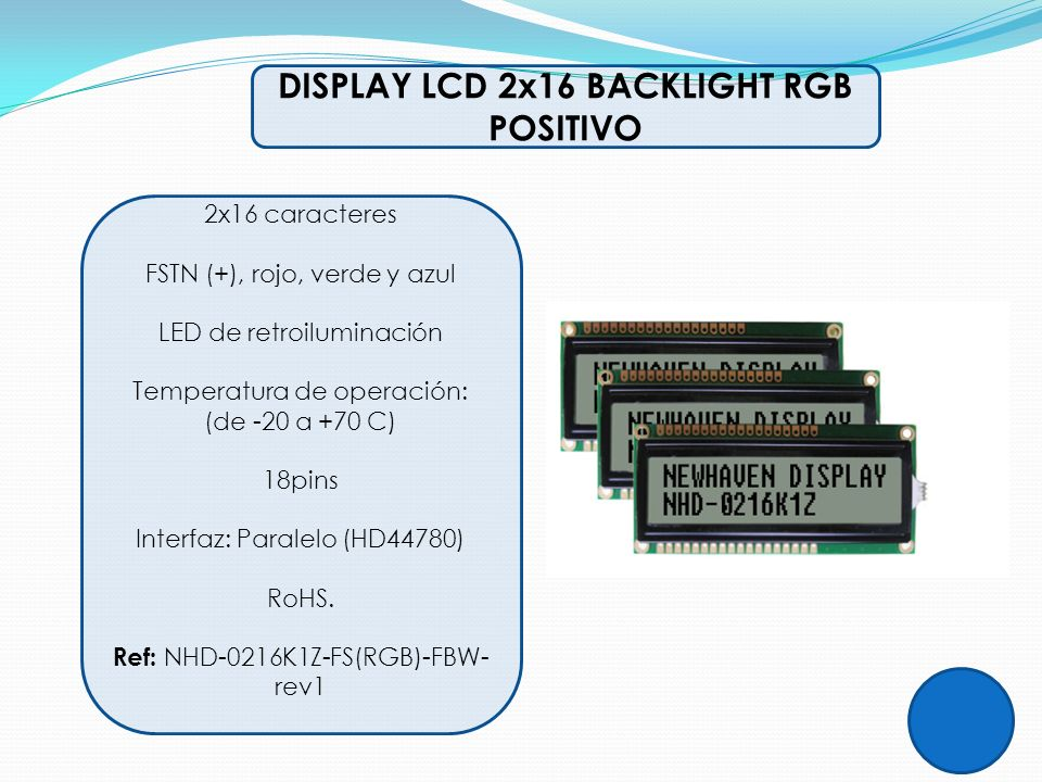 DISPLAY LCD 2x16 BACKLIGHT RGB POSITIVO