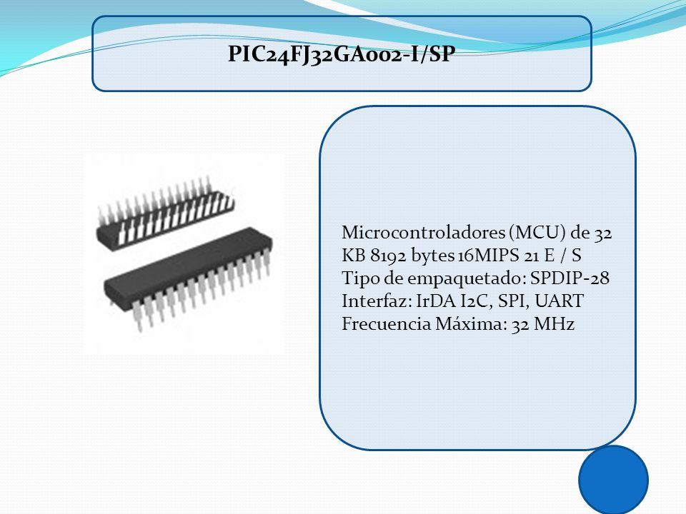 PIC24FJ32GA002-I/SP Microcontroladores (MCU) de 32 KB 8192 bytes 16MIPS 21 E / S. Tipo de empaquetado: SPDIP-28 Interfaz: IrDA I2C, SPI, UART.