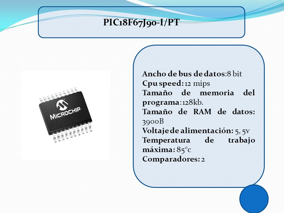 PIC18F67J90-I/PT Ancho de bus de datos:8 bit Cpu speed: 12 mips