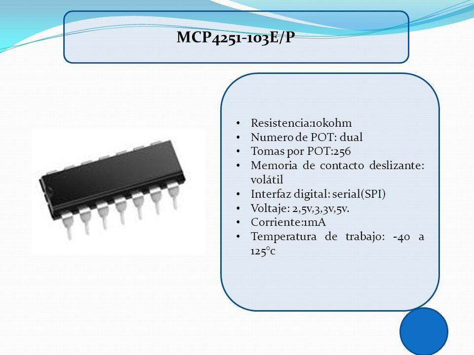 MCP4251-103E/P Resistencia:10kohm Numero de POT: dual