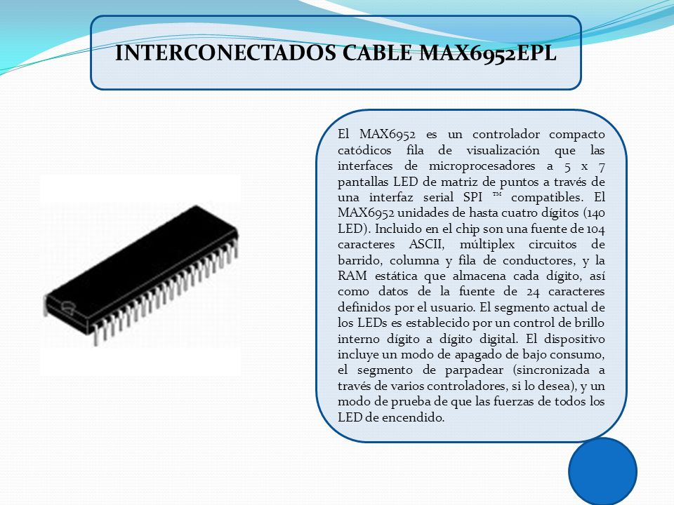 INTERCONECTADOS CABLE MAX6952EPL